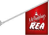 Fasadflagga Mellandags REA