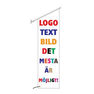 Fasadflagga 40x150cm snedskuren med egen design